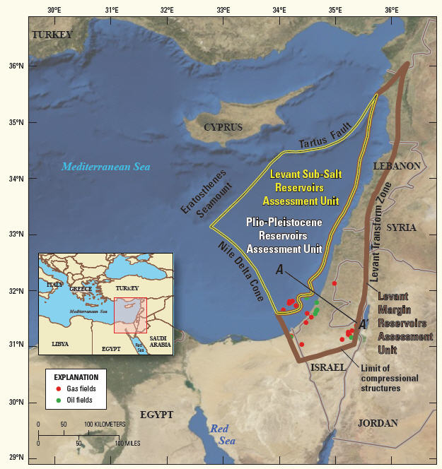 USGS Identifies Potential Giant Oil And Gas Fields In Israel - Us oil and gas reserves map