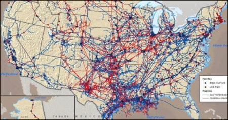 Oil and Gas pipelines in the Continental United States