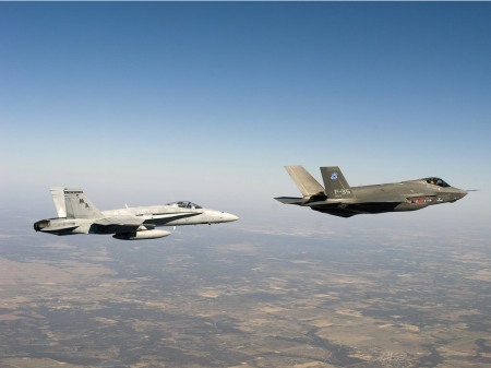 F-18 E/F, left, and F-35, right