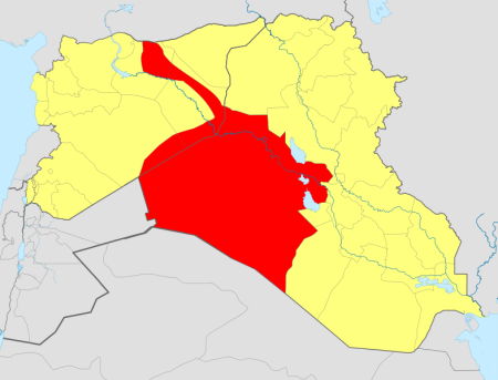 The area in red represents the territory currently under control of ISIS